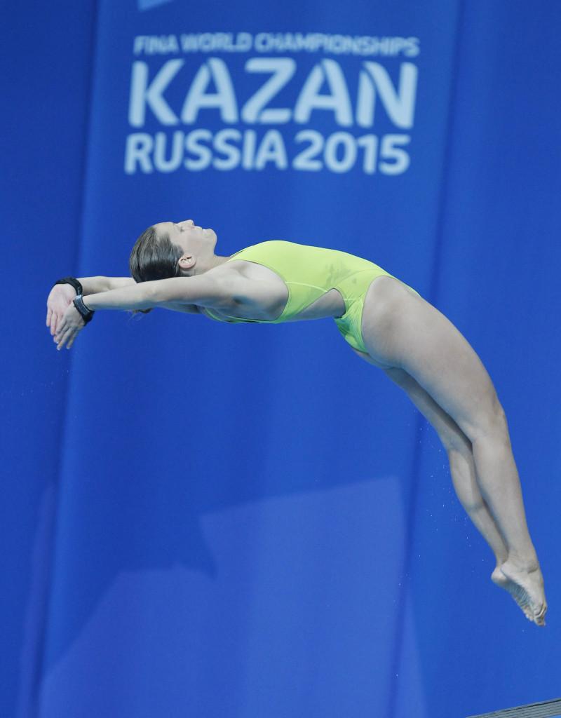 Kazany, 2015. július 29. Kormos Villõ a nõi 10 méteres toronyugrás selejtezõjében a kazanyi vizes világbajnokságon 2015. július 29-én. MTI Fotó: Kovács Anikó