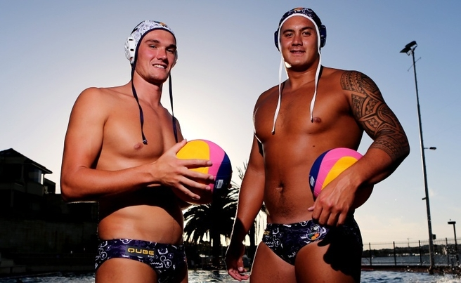 Water Polo players Aaron Younger and Joe Kayes who will play for the Fremantle Mariners against rival West Australian team Perth Torpedoes at Bicton Pool this Friday night.