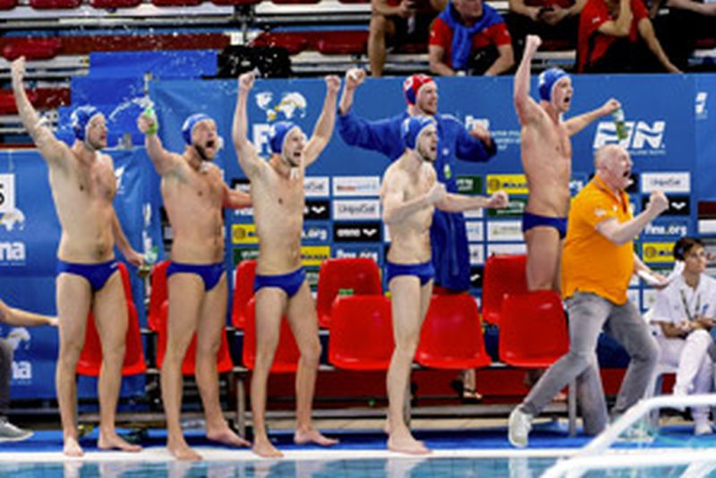 NED Team FINA Men's Water Polo Olympic Games Qualifications Tournament 2016 Spain ESP (White) Vs Netherlands NED (Blue) Trieste, Italy - Swimming pool Bruno Bianchi Day1 03-04-2016 Photo G.Scala/Insidefoto/Deepbluemedia