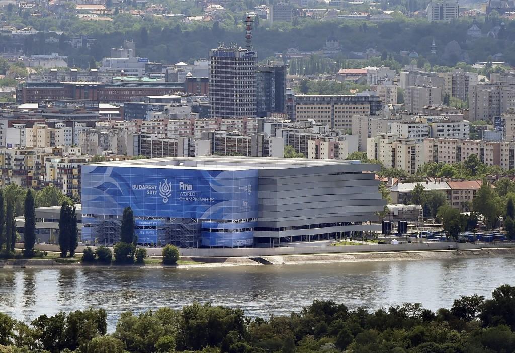 Budapest, 2017. május 17. Középen a 2017-es vizes világbajnokság központi budapesti létesítménye, a Dagály Úszóaréna 2017. május 17-én. MTI Fotó: Máthé Zoltán