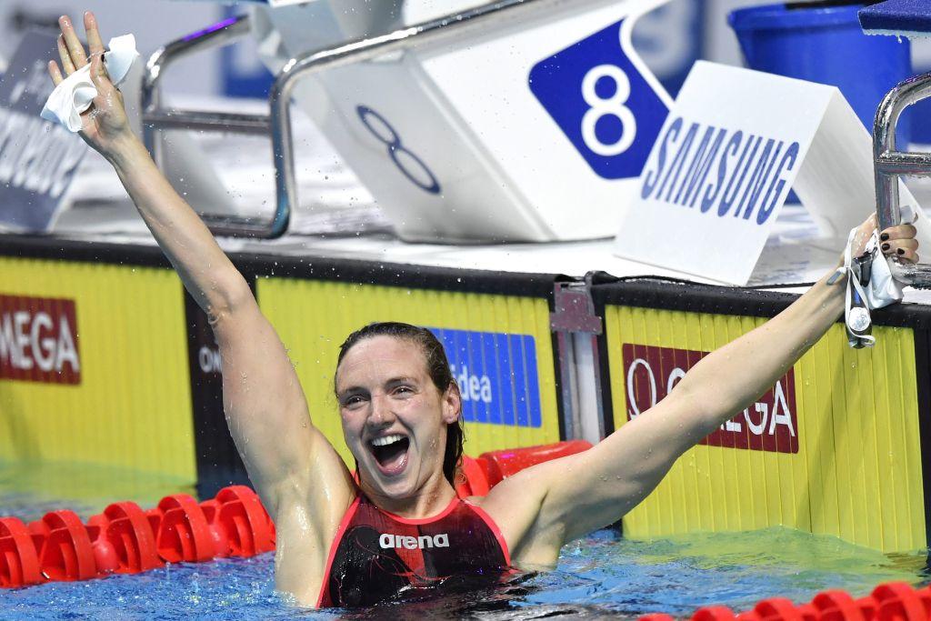 Budapest, 2017. július 27. A harmadik helyezett Hosszú Katinka a nõi 200 méteres pillangóúszás döntõje után a 17. vizes világbajnokságon a Duna Arénában 2017. július 27-én. MTI Fotó: Illyés Tibor