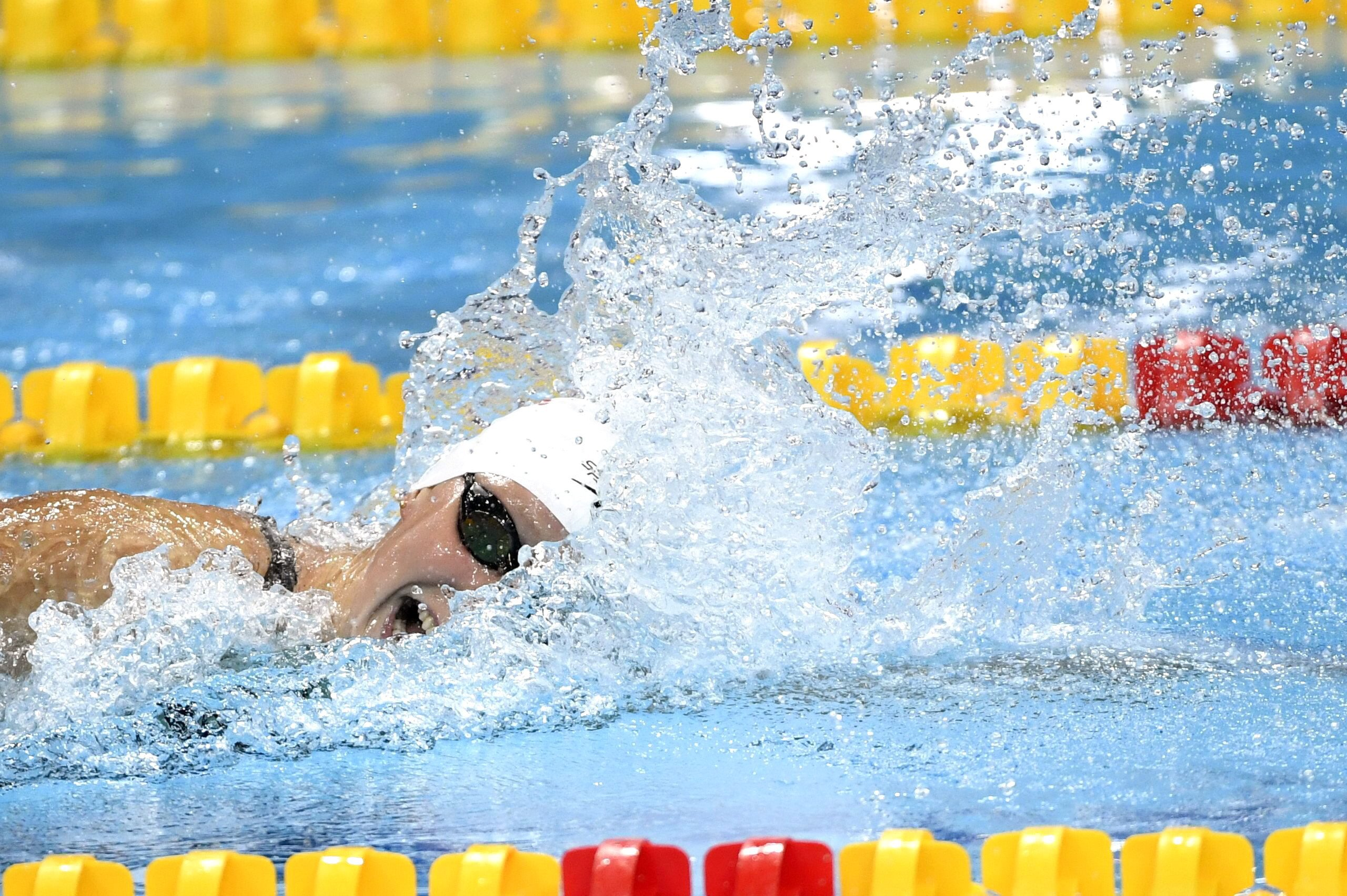 Budapest, 2017. július 23. Az amerikai Katie Ledecky a nõi 400 méteres gyorsúszás elõfutamában a 17. vizes világbajnokságon a Duna Arénában 2017. július 23-án. MTI Fotó: Illyés Tibor